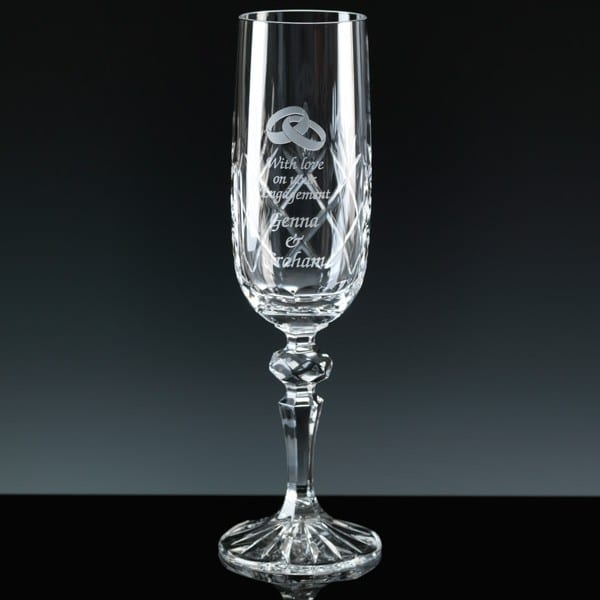 Image of 6oz Inverness Crystal Engraved Champagne Flute Glass