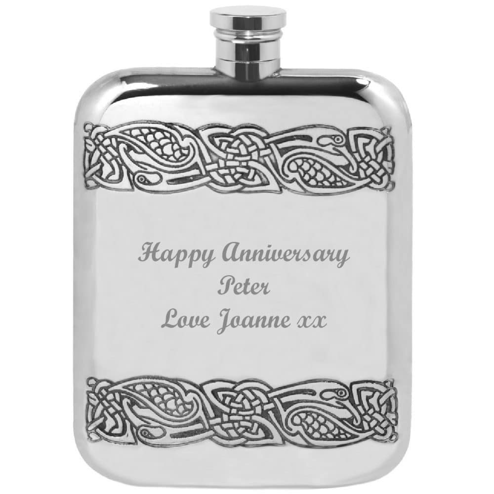 Image of Personalised Celtic Pewter Hip Flask Engraved