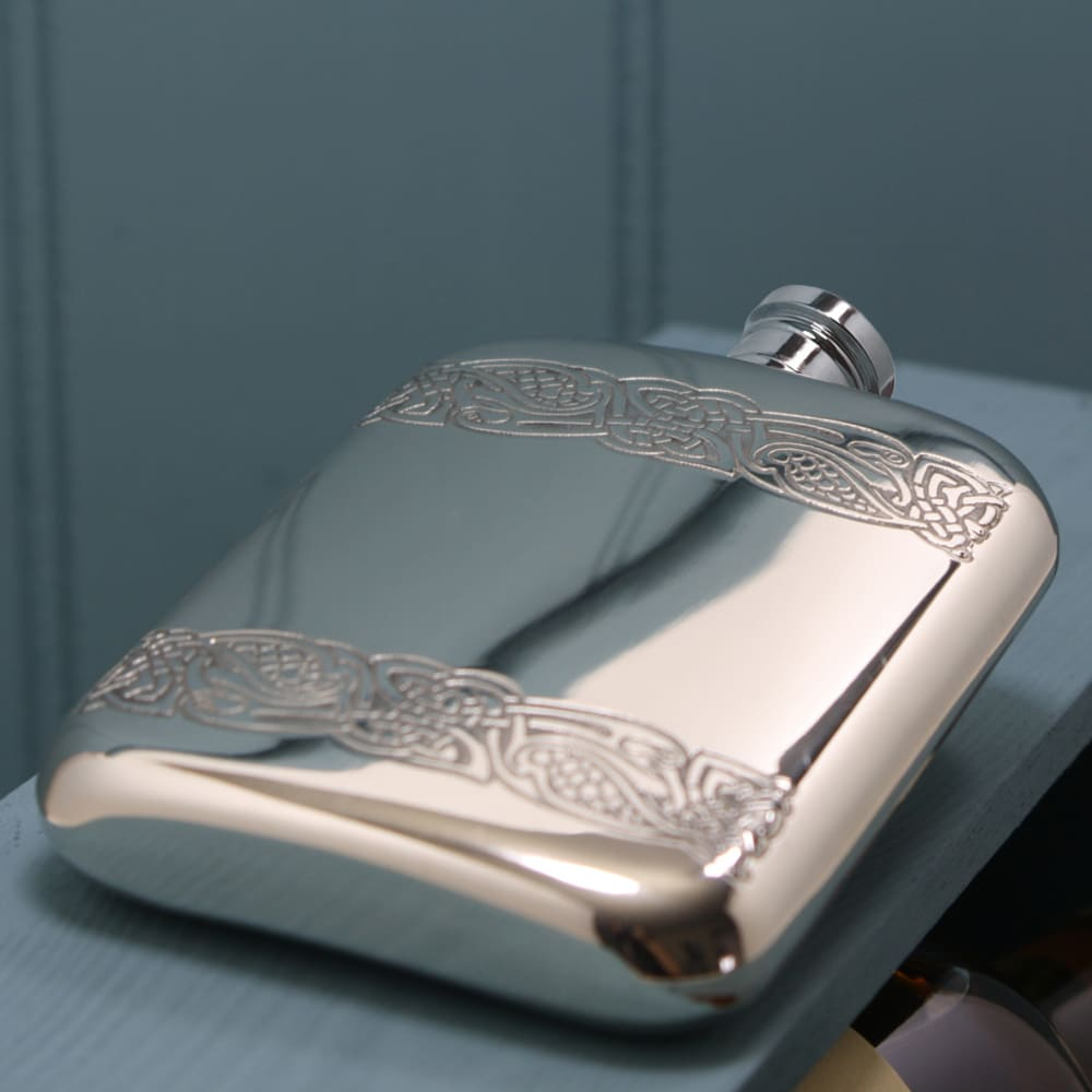 Side view of Personalised Celtic Banded Pewter Hip Flask Engraved