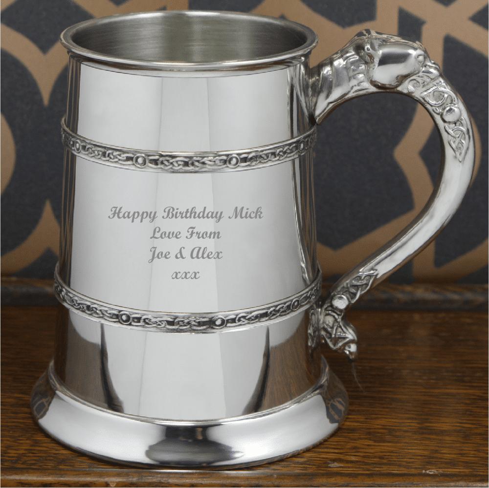 Image of 1 Pint Pewter Celtic Banded Engraved Tankard