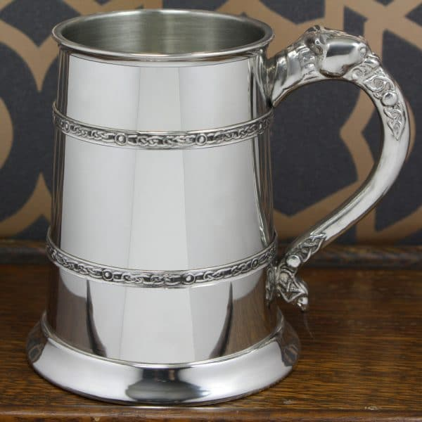 Image of 1 Pint Pewter Celtic Banded Engraved Tankard