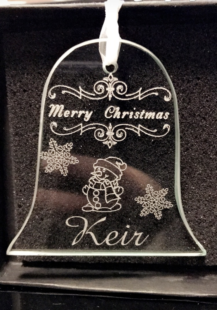 Personalised Glass Bell Christmas Decoration 1 Locksmith in Stirling