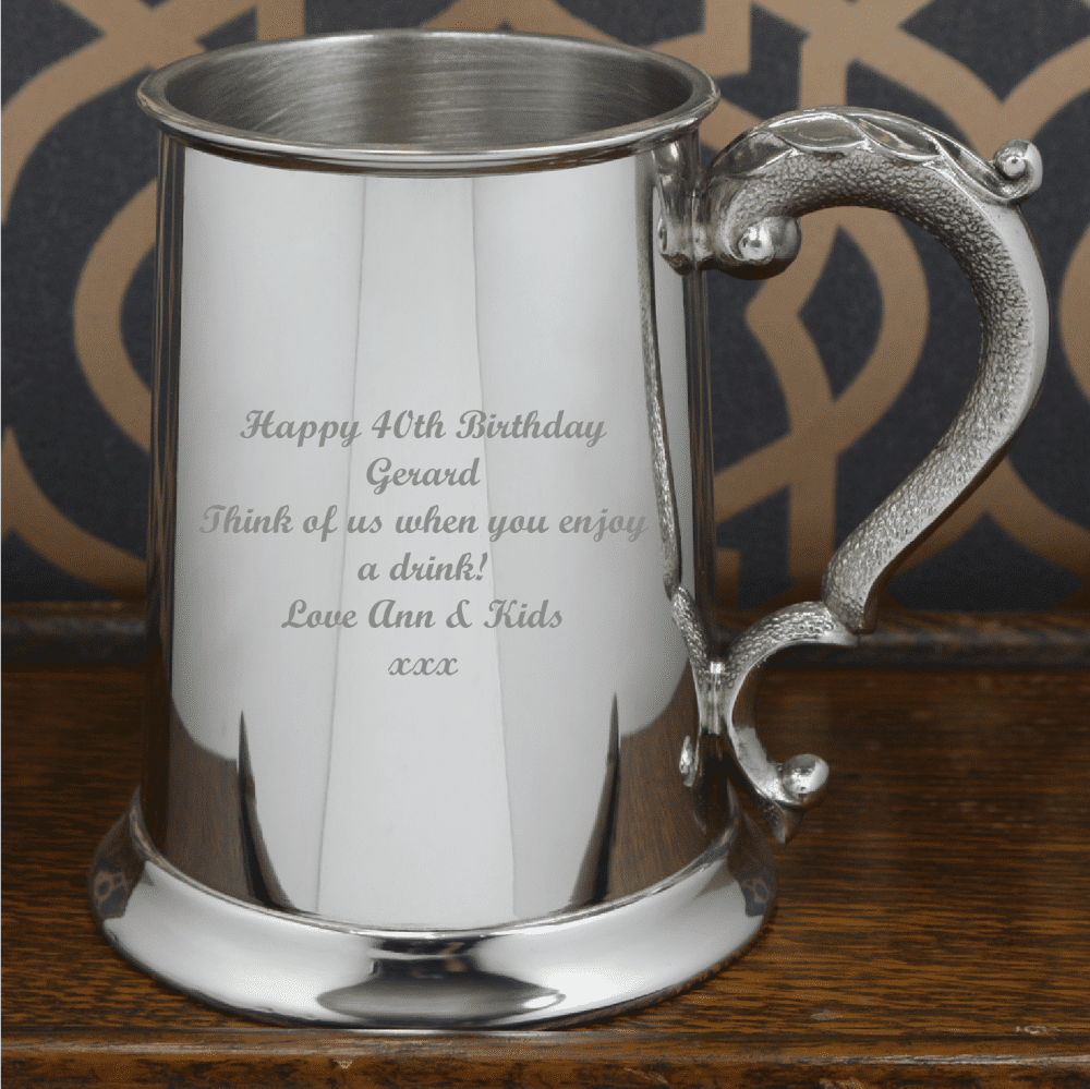 Image of 1 Pint Pewter Classic Engraved Tankard