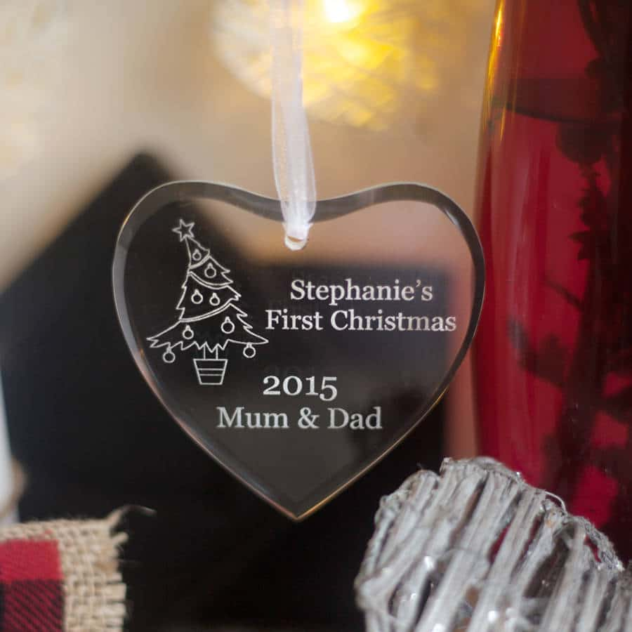 Beautiful Personalised Engraved Glass Heart Christmas Decoration 2 Locksmith in Stirling
