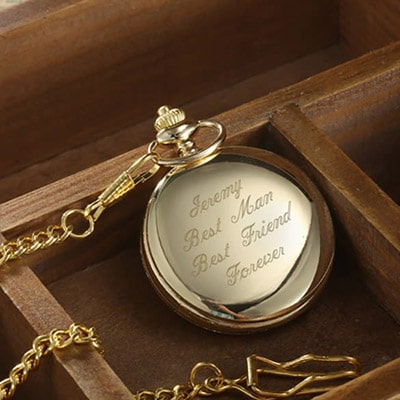 Image of Personalised Engraved Pocket Watch Gold
