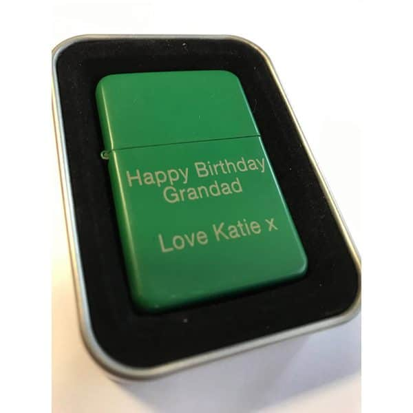 Image of Star Matt Green Personalised Engraved Lighter