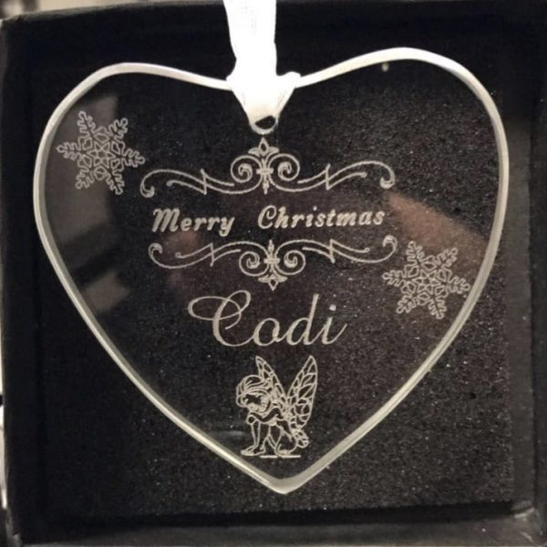 image of heart shaped Glass Personalised Baby's First Christmas Decoration - Merry Christmas