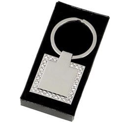 Image of Engraved Personalised Diamond Framed Keyring