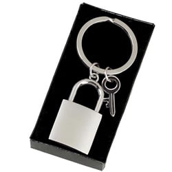 image of personalised engraved padlock keyring