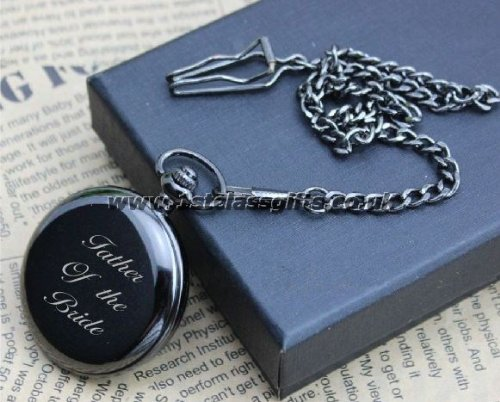 Stainless Black Personalised Pocket Watch 1 Locksmith in Stirling