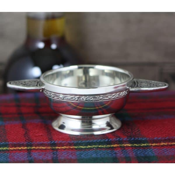 Image of Personalised Engraved Scottish Quaich Pewter Celtic Handle