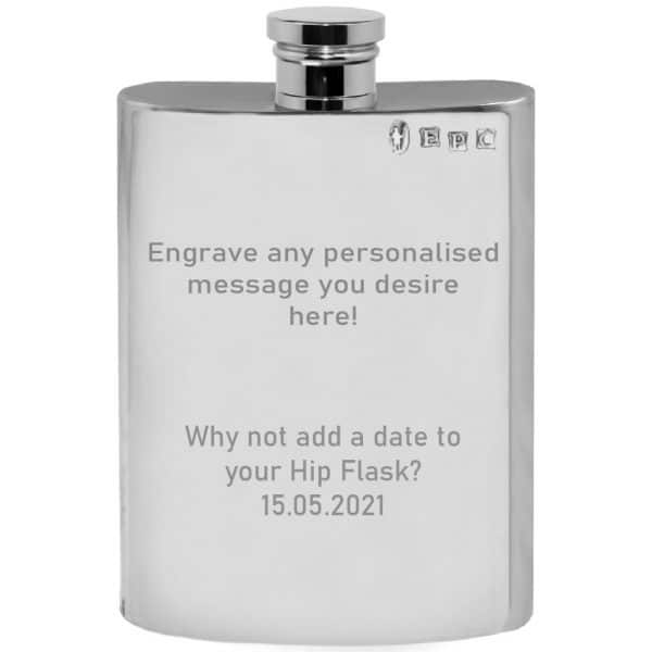 Imafe of Personalised Pewter Hip Flask Engraved