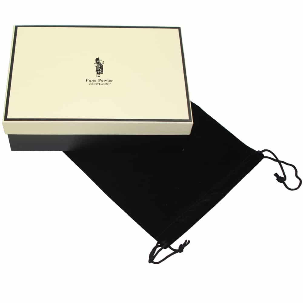 Image of Personalised Scottish Quaich Pewter Thistle Handle Box
