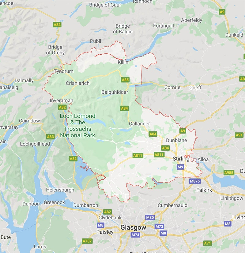 Locksmith in Stirlingshire - Map showing all Stirlingshire areas we cover