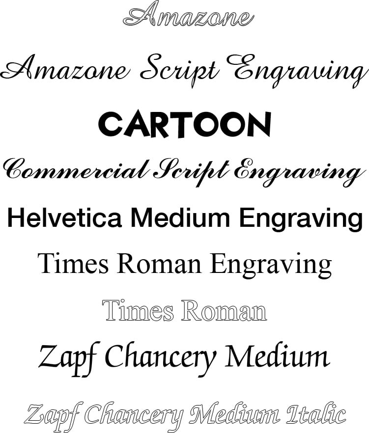 Image of font choices for engraving