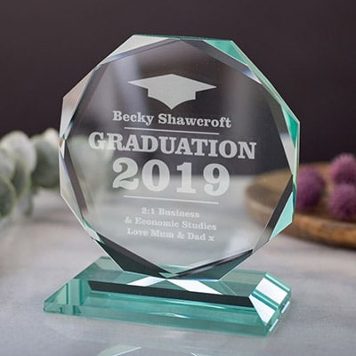 """4""""- 7"""" Personalised Engraved Octagon Jade Glass Award 1 Locksmith in Stirling"""