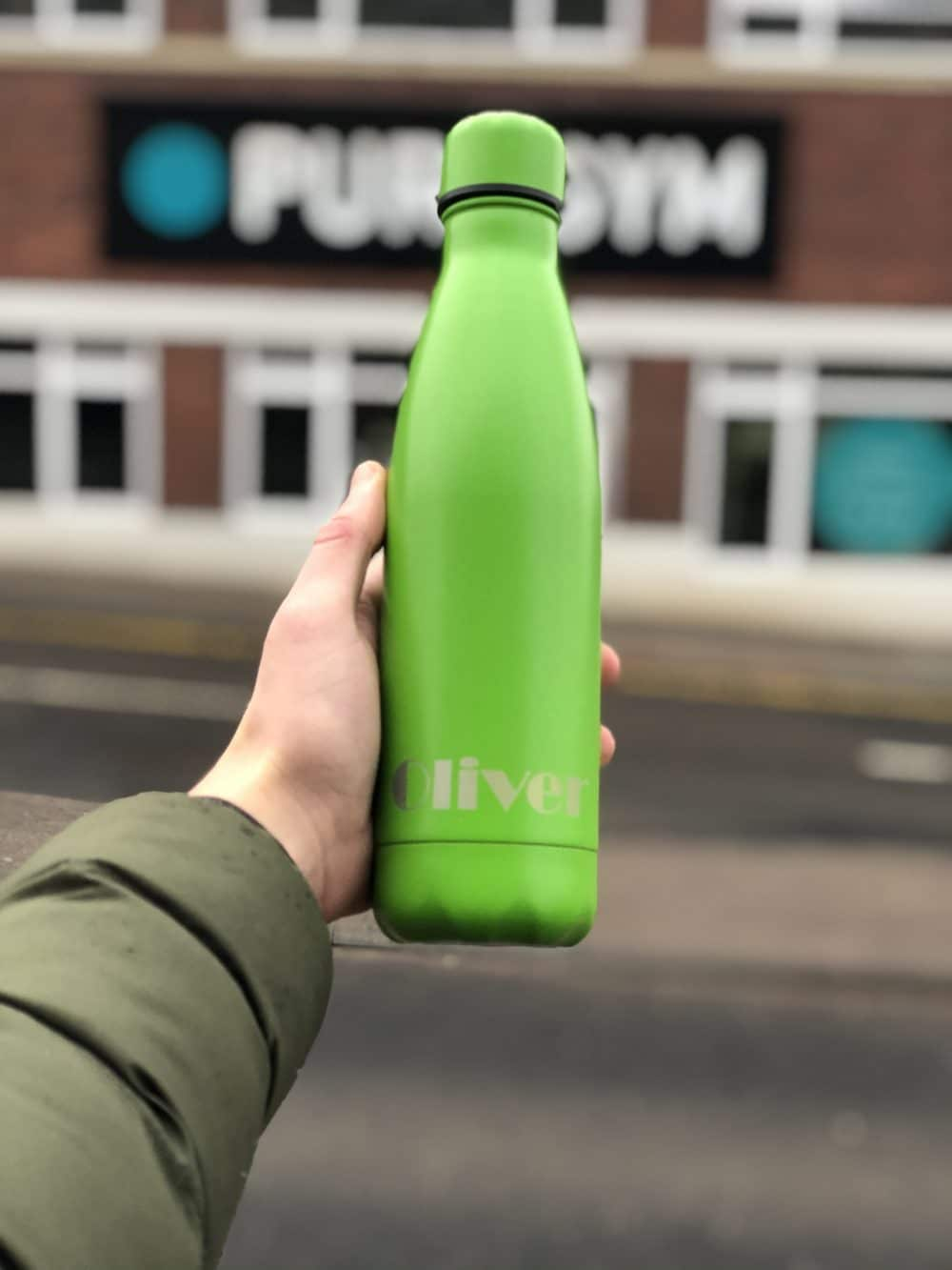 image of a green 500ml Thermal Personalised Water Bottle
