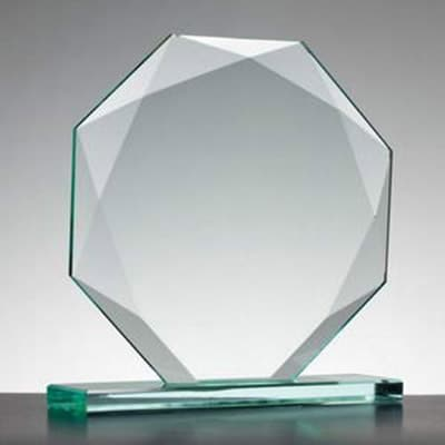 Image of Engraved Personalised Jade Glass Award Octagon