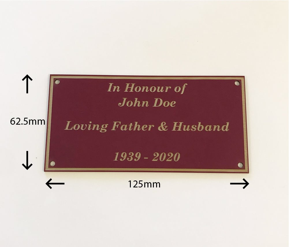 Image of engraved personalised burgundy acrylic memorial plaque