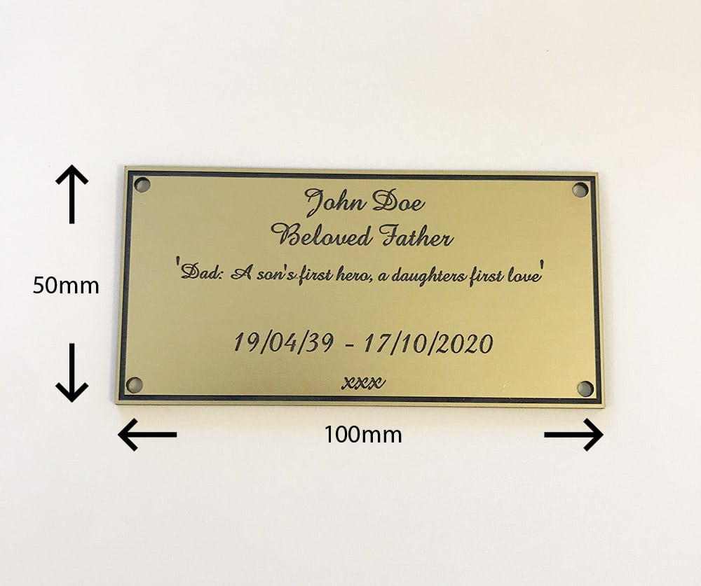 Image of engraved personalised brass acrylic memorial plaque