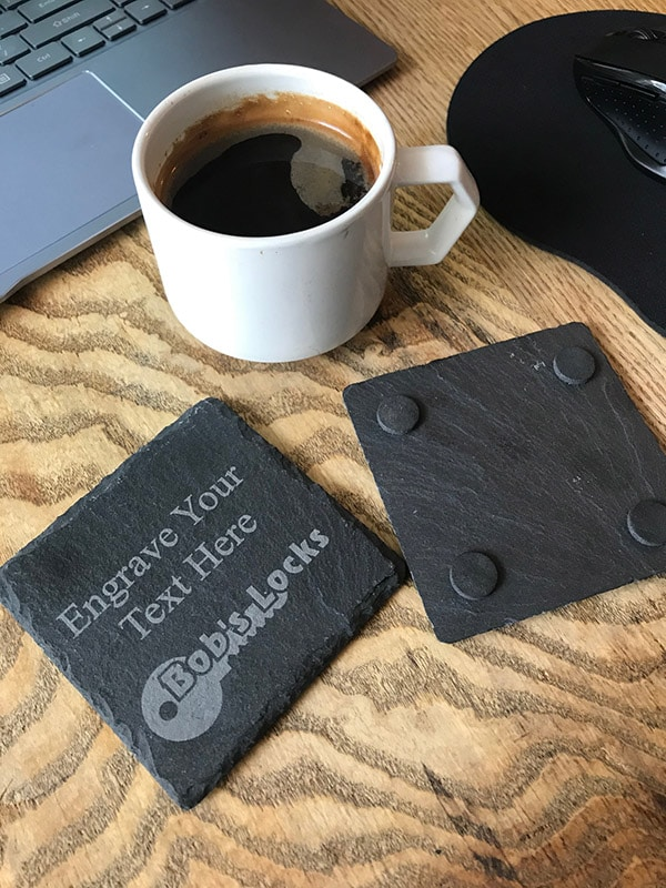 Image of Fully Personalised Slate Coaster Square Natural Slate