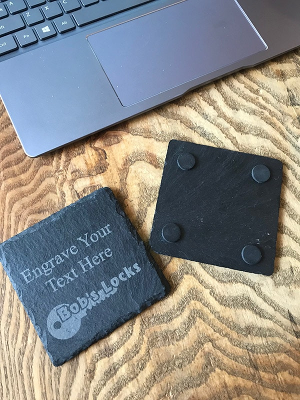 Fully Personalised Slate Coaster - Square Natural Slate 2 Locksmith in Stirling