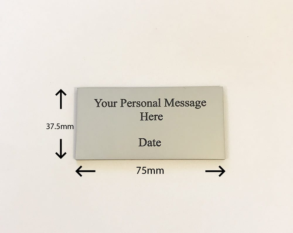 Image of engraved personalised silver acrylic memorial plaque