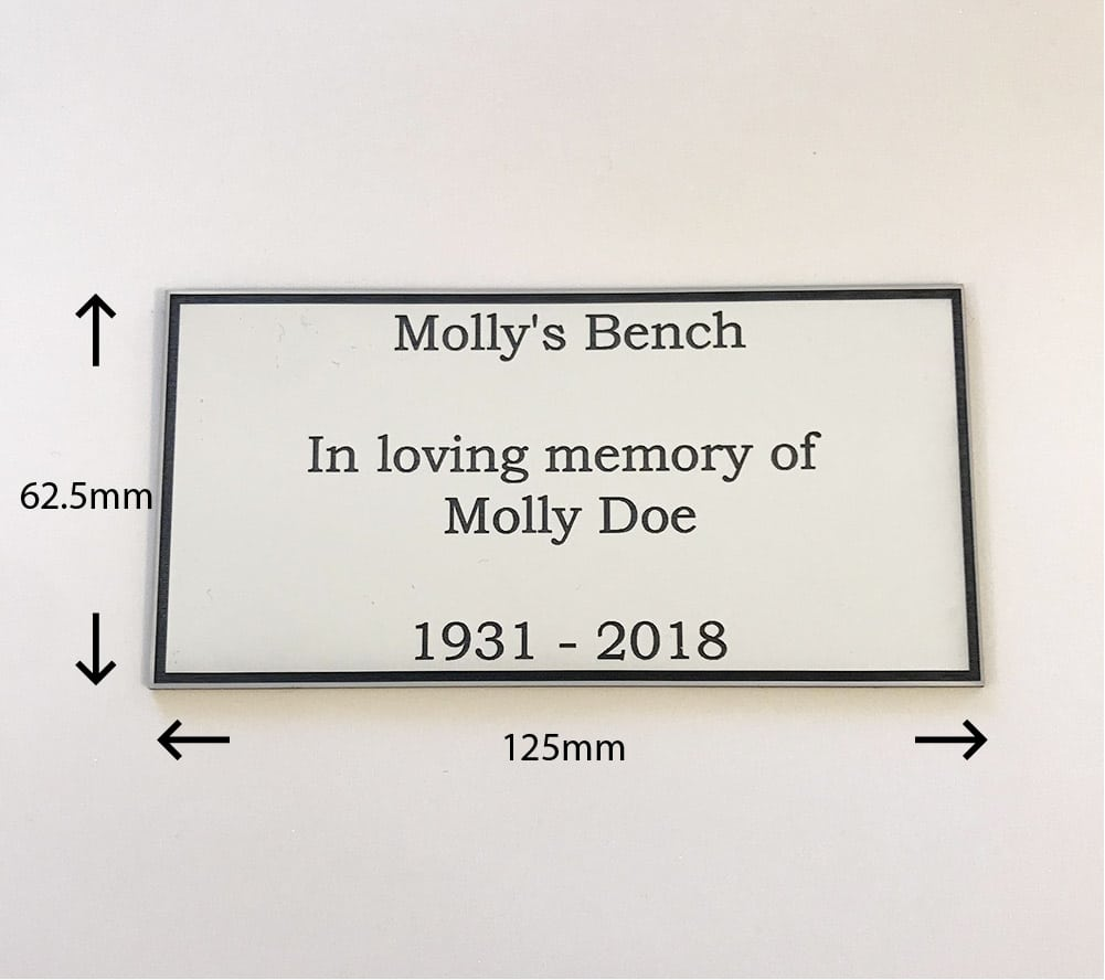 Image of white acrylic engraved personalised memorial plaque