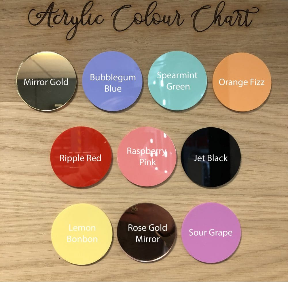 Image of acrylic colour chart for name signs