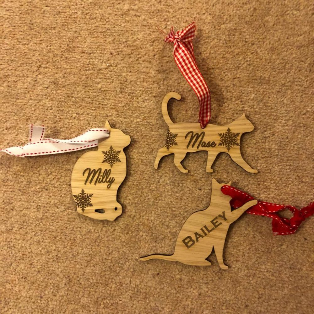 image of a collection of personalised cat christmas decorations