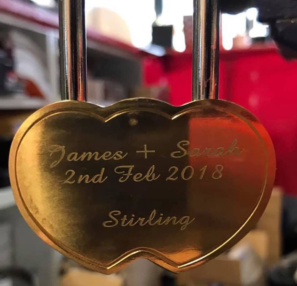 Image of Heart Shaped Personalised Engraved Love Lock