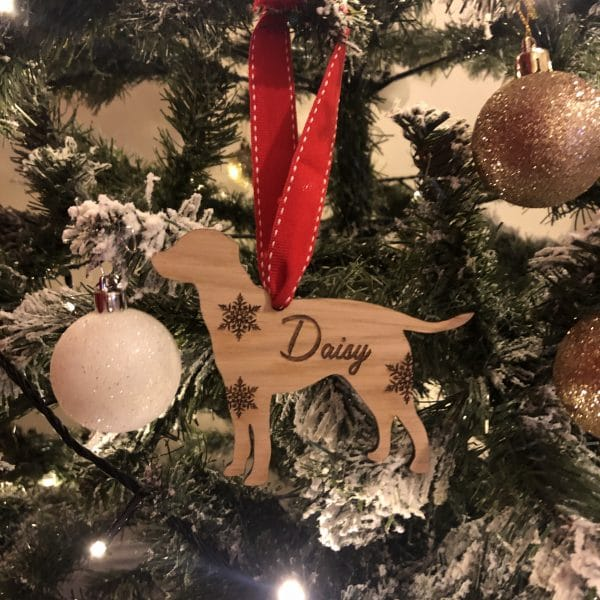 Image of personalised dog christmas decoration labrador