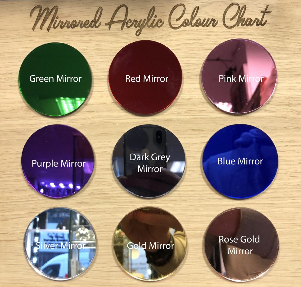 Image of mirrored acrylic colour chart for name signs