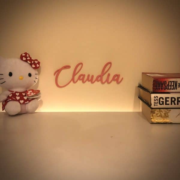 image of colourful acrylic personalised name sign Claudia