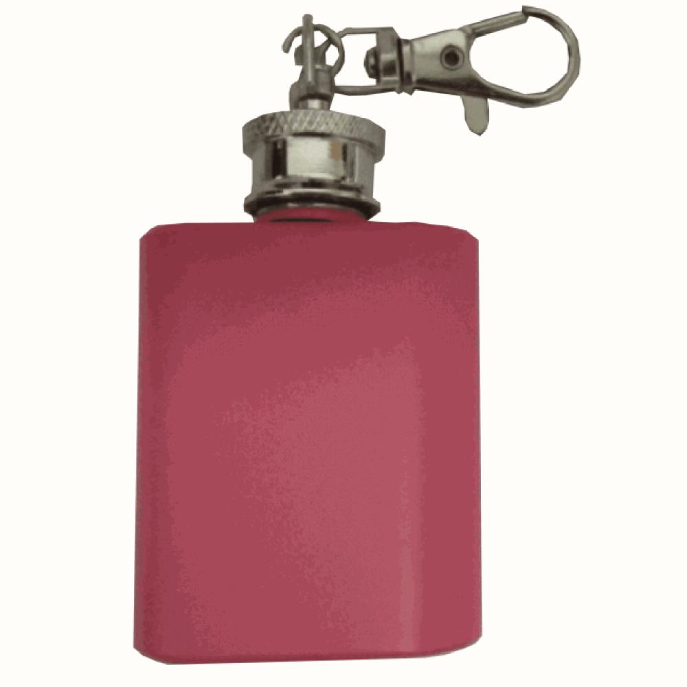 Image of Pink Personalised Engraved 1oz Hip Flask Key Ring