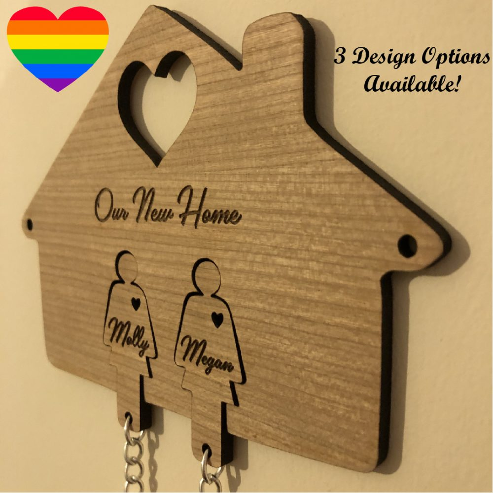 Image of a Same-Sex Personalised New Home Key Holder and Key Rings design options