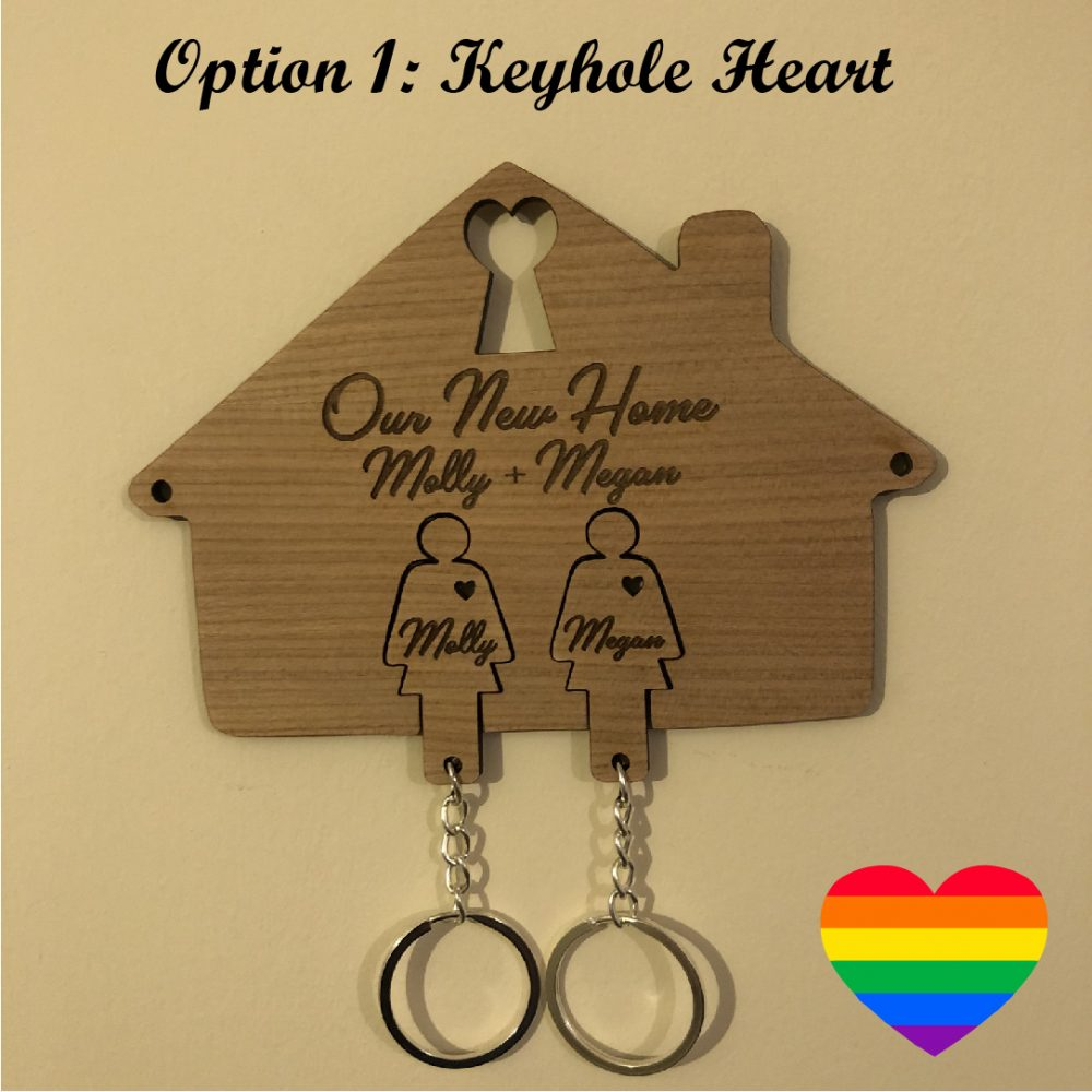 Image of a Same-Sex Personalised New Home Key Holder and Key Rings