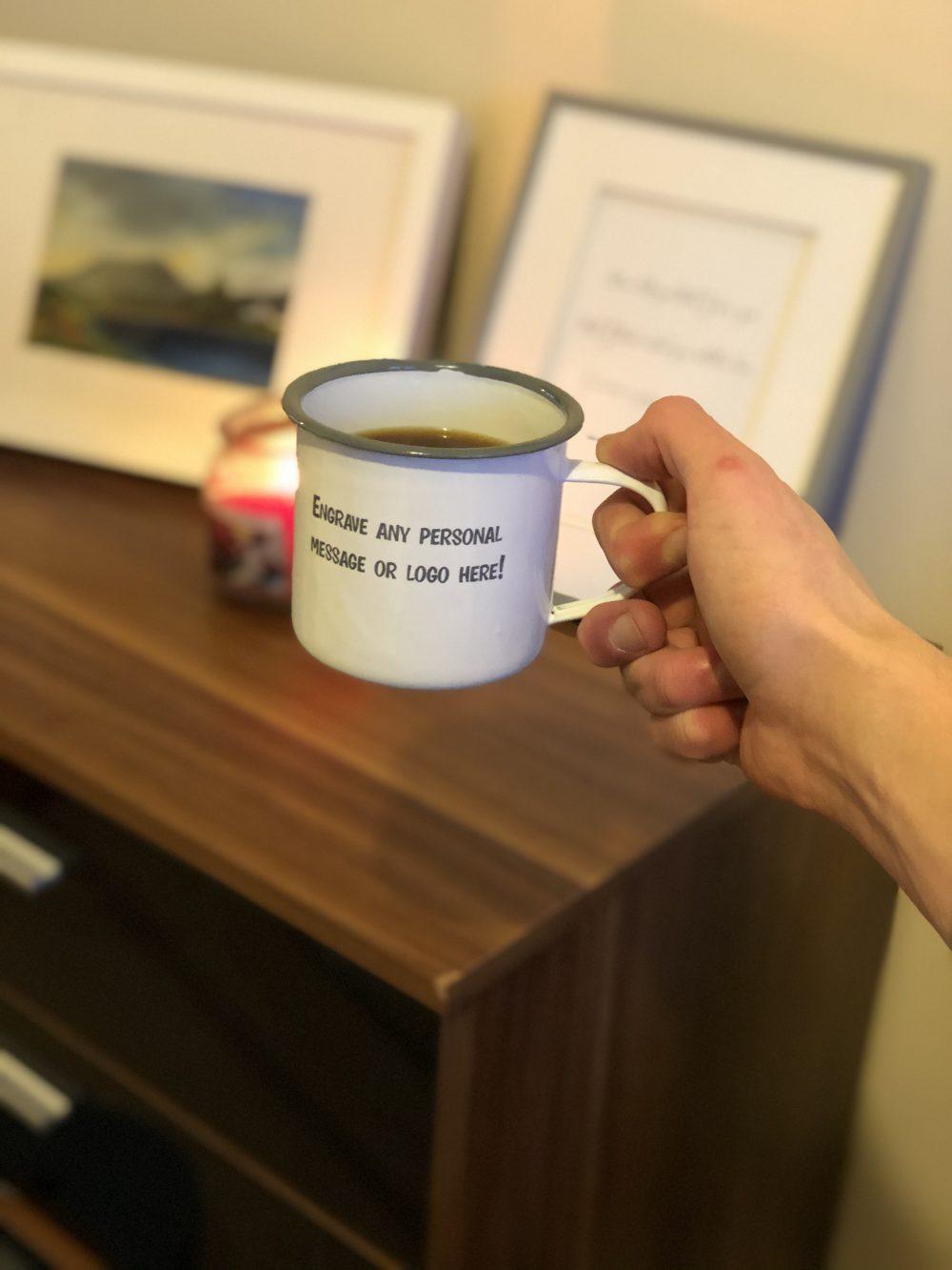 Image of Personalised Engraved Enamel Mug - Tin Cup