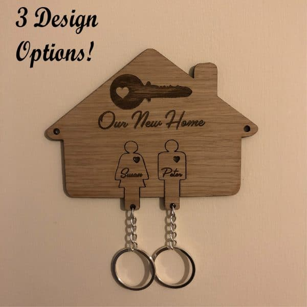 Personalised New Home Key Holder and Key Rings design options