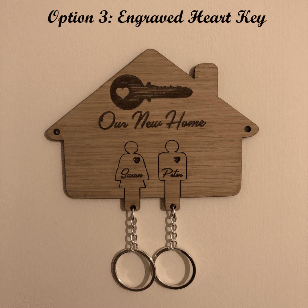 Personalised Oak Veneered New Home Key Holder & Key Rings - 3 Unique Design Options 3 Locksmith in Stirling