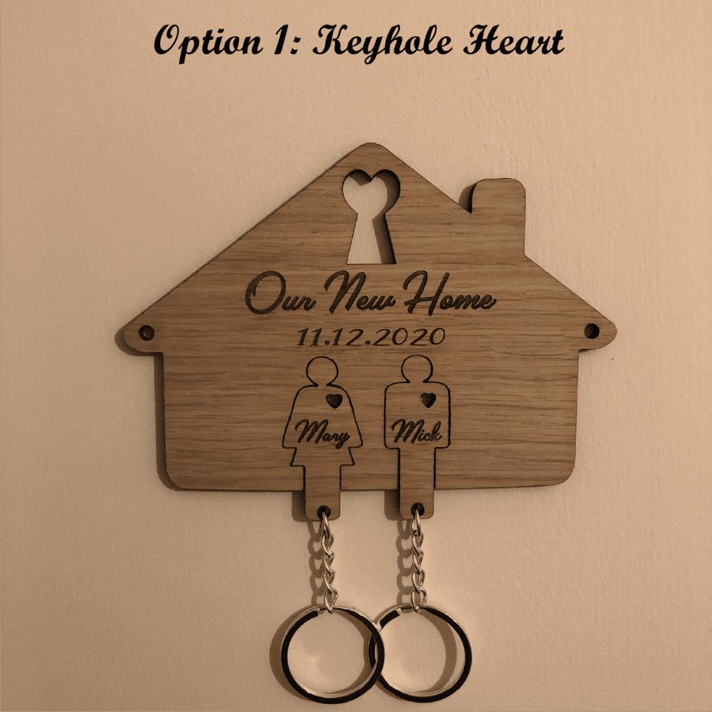 Personalised Oak Veneered New Home Key Holder & Key Rings - 3 Unique Design Options 1 Locksmith in Stirling