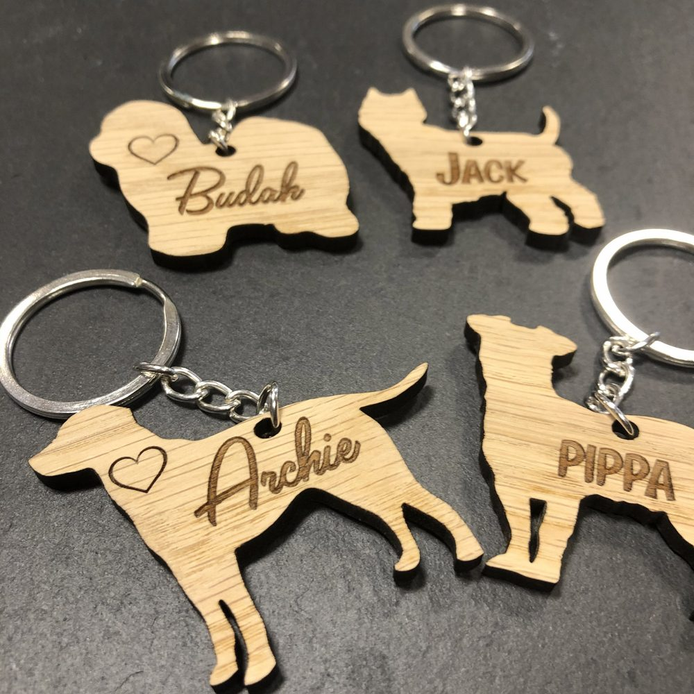 Image of Selection of Personalised Dog Keyrings - Gift for Dog Owner