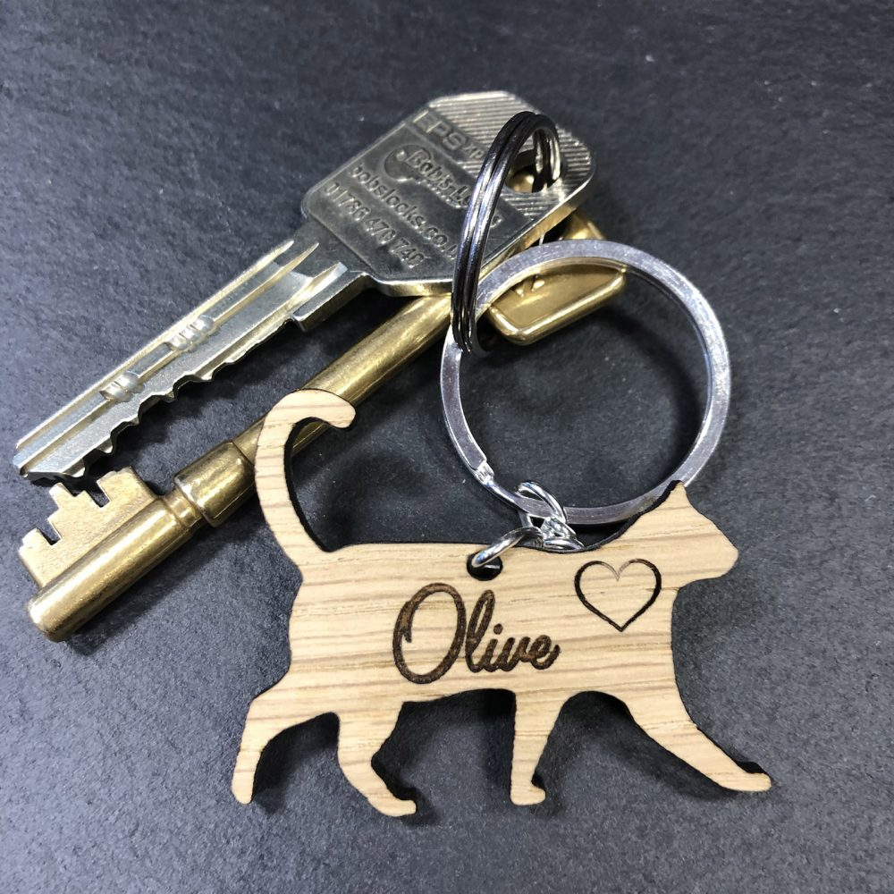 Image of personalised cat keyring - gift for cat owners on keys