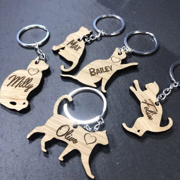 Image of the range of personalised cat keyring - gift for cat owners