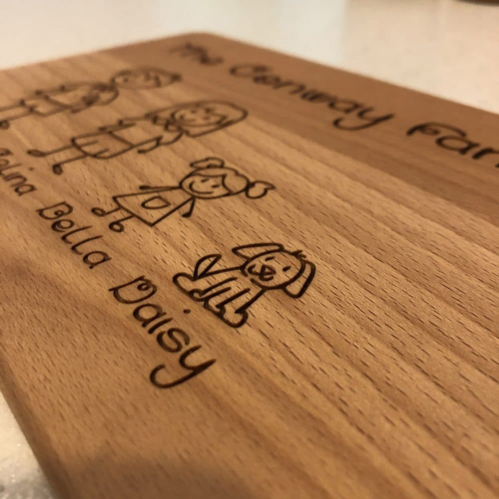 Image of wooden family personalised chopping board