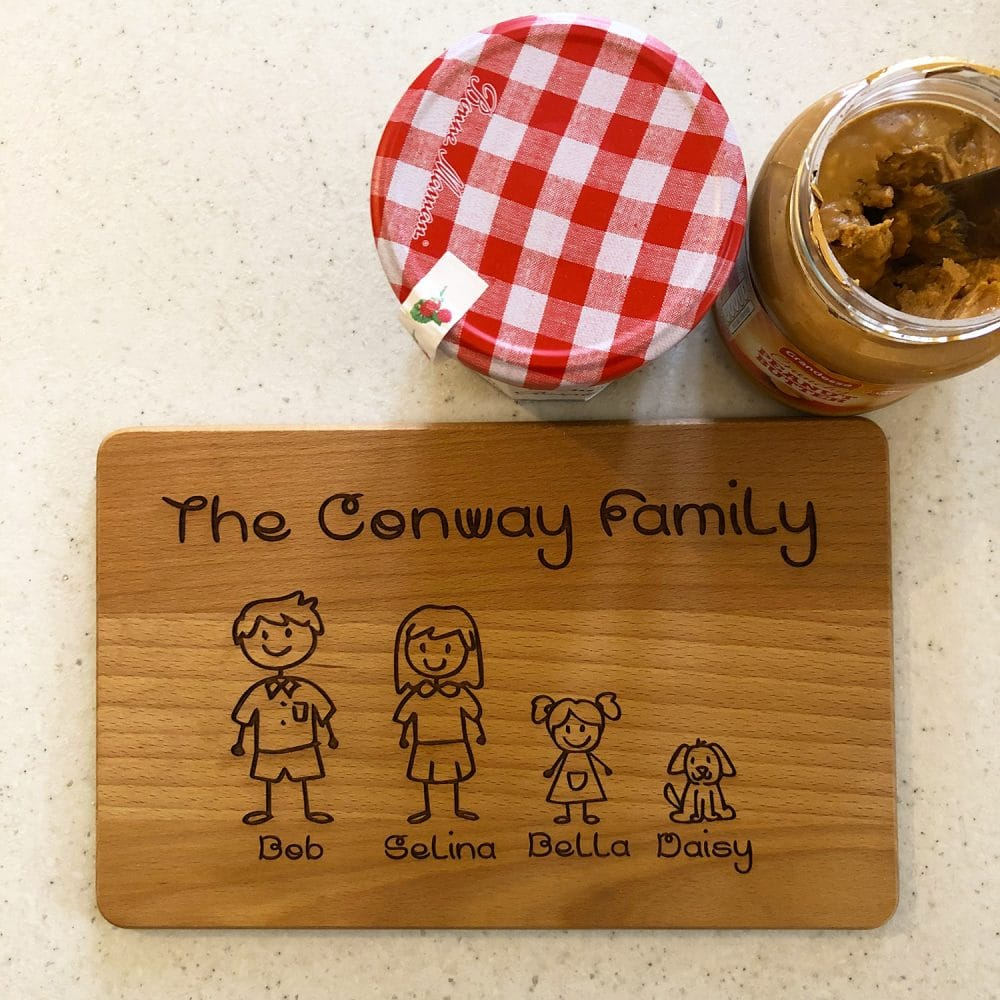 Image of wooden family personalised chopping board for toast