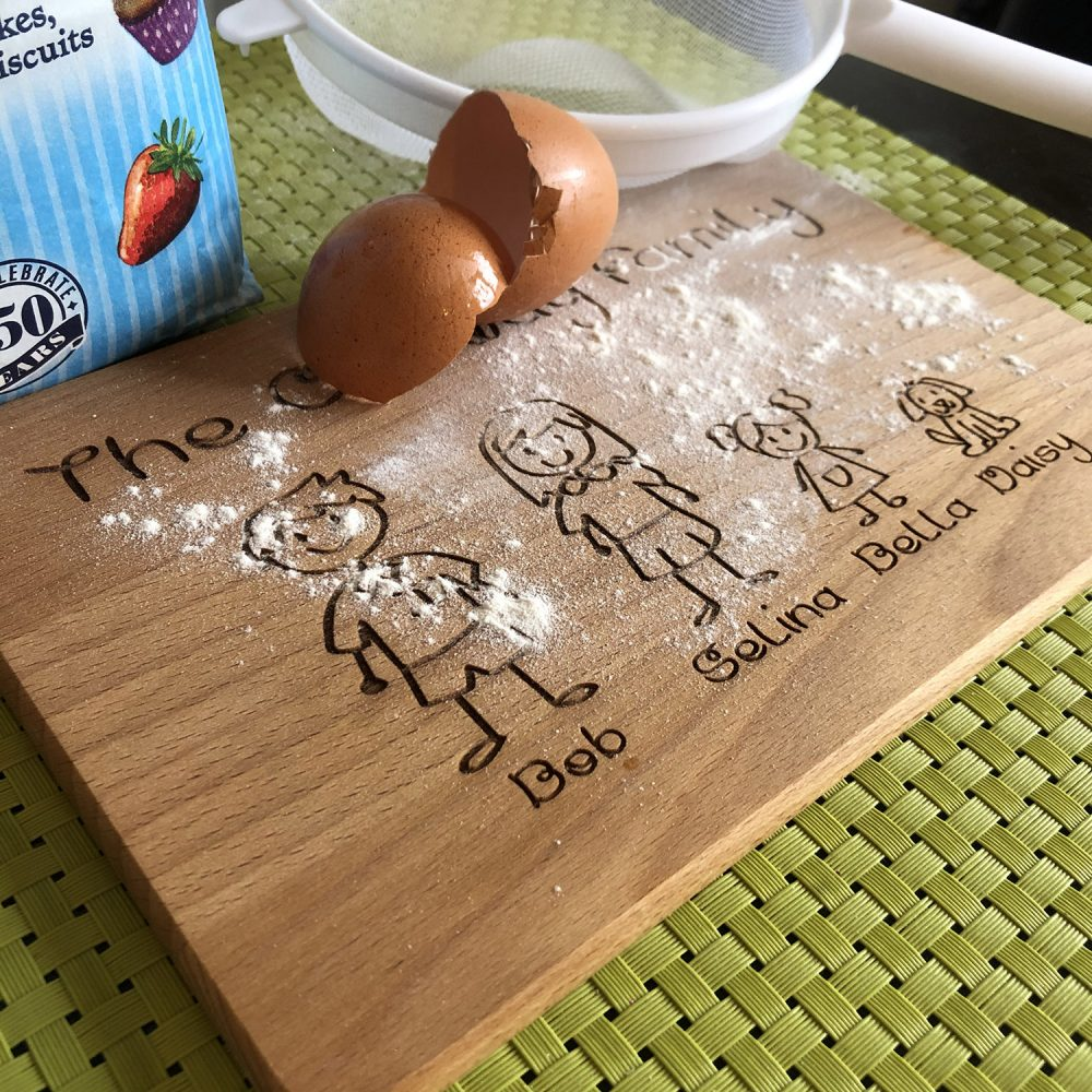 Image of wooden family personalised chopping board for baking