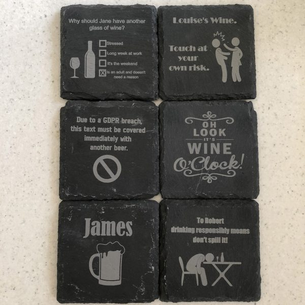 Image of six Fun Drink Themed Engraved Square Personalised Slate Coasters