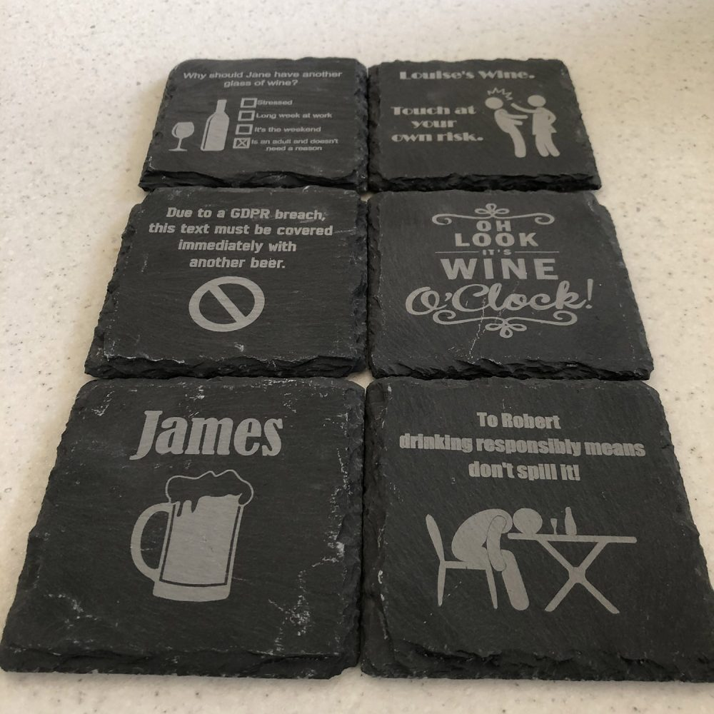 Personalised Slate Coasters - 6 Unique Fun Drink Themed Engraved Square Coasters 2 Locksmith in Stirling