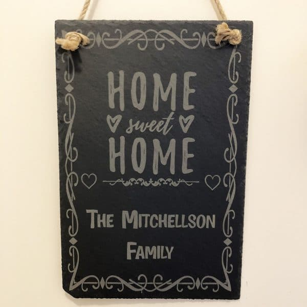 Image of a Personalised Engraved Slate Home Sweet Home Sign